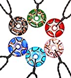 "CCSC-PEC Round Ring Shape Silver Foil Handmade Glass Pendant Necklace with 19.7"" Cord for Mens Womens"