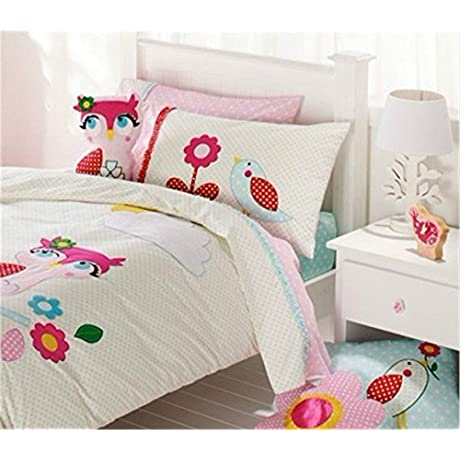 Auvoau Pink Owl Bedding For Girls Butterfly Queen Size Duvet Cover Set Owl Duvet Cover Set 100 Cotton Full 4pc