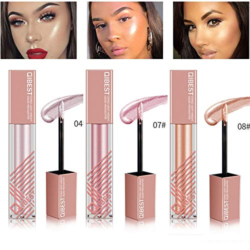 Face Glow Liquid Highlighter, Niceface Contour Make Up Brighten Shimmer 3D Highlighters Waterproof (3 Colors)