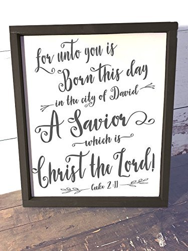 luke 2 11 christian signs for home christian signs decor wood christian signs - Christian Christmas Decorations