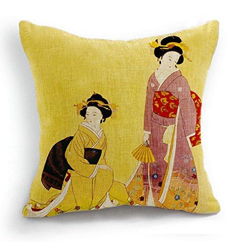 telisha Retro estilo amarillo dos japoneses mujeres Geisha ...