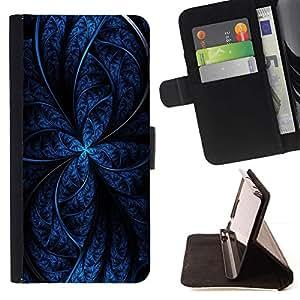 For HTC One Mini 2 M8 MINI Case , Imágenes abstractas en azul- la tarjeta de Crédito Slots PU Funda de cuero Monedero caso cubierta de piel