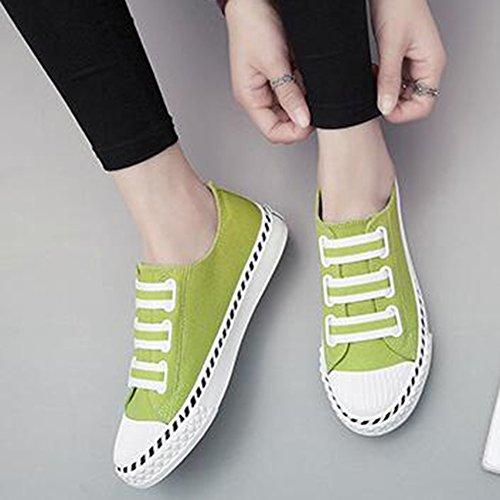 Easemax Womens Fashion Duk Sy Elastiska Rund Tå Låg Topp Platta Sneakers Grönt
