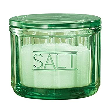 Depression Style Glass Salt Cellar with Lid, Classic Green
