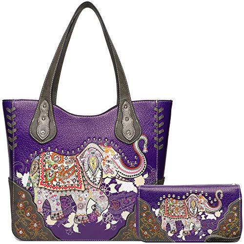 Elephant Rhinestone Studded Western Style Concealed Carry Purse Handbag Women Shoulder Bag Wallet Set (Purple ()