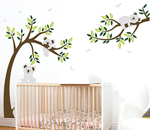 ALiQing Nursery Wall Decals~Family Tree Wall Decal Koala Bear Wall Stickers Kids Baby Bedroom Wall Decor (225cm Width x 150cm Height) (Brown,Green) (Koala Tree)