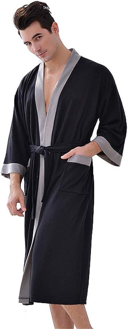 Mens Waffle Kimono Lightweight Robes Classic Long Spa Bathrobe Loungewear with Pockets