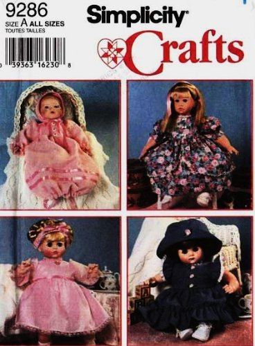 (SIMPLICITY 9286 Doll Dresses and Hats Pattern in 3 Sizes S M L (12