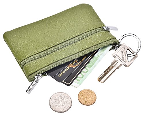 DEEZOMO RFID Blocking Genuine Leather Zipper Change Purse Coin Wallet with Key Ring - ()