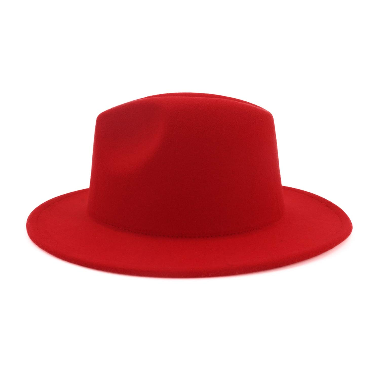 KKONION Black Red Patchwork Women Men Fedora Hat for Lady Girl Wide Brim Jazz Caps Warm Autumn Winter
