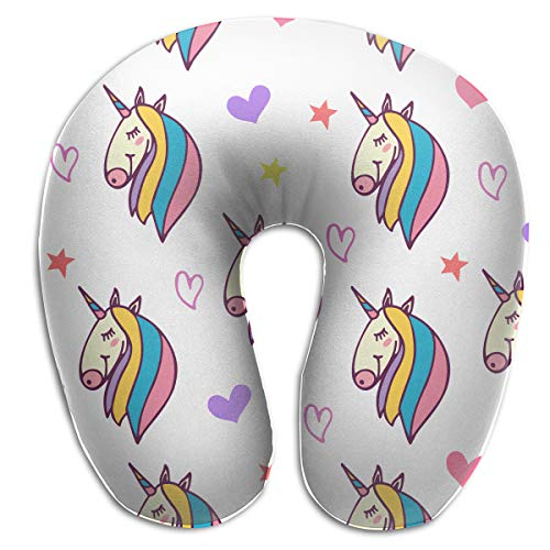 QWEDZ Cute Unicorn, Hearts and Stars Fashion Memory U Pillow Neck & Cervical ()