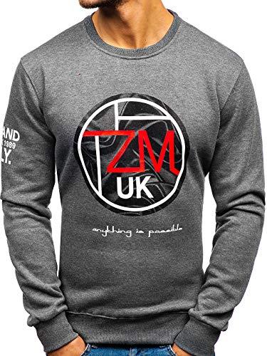 Foncé Sweatshirt 1a1 Style Col Sportif Imprimé Gris dd376 Sans La Bolf À Inséré Rond Travers Capuche Homme Tête Le TZddqF