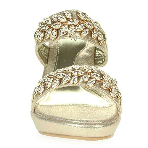 Hæl Aarz Gull Slip Bryllup Krystall Sko Prom Kvinners På Damer Størrelse Diamante Brude Kveld London Sandaler Kile TgrnTqxa7