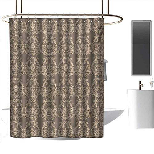 (homehot Shower Curtains African Women Taupe,Royal Victorian Botanical Design Exquisite Floral Figures Historic Pattern,Warm Taupe Sand Brown,W108 x L72,Shower Curtain for clawfoot tub )
