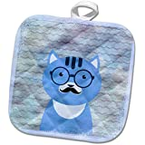 3dRose Andrea Haase Animals Illustration - Cute clever hipster cat in blue with glasses and mustache - 8x8 Potholder (phl_262990_1)