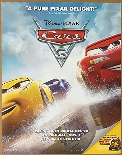 Amazon Com Cars 3 Movie Poster 1 Sided Original Mini 22x28 Disney Owen Wilson Bonnie Hunt Everything Else
