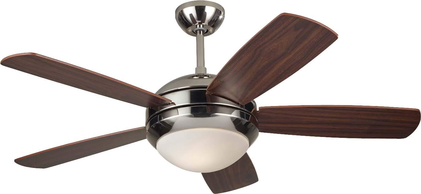 Monte Carlo 5DI44PND Discus II 44 Ceiling Fan with Light and Pull Chain, 5 Blades, Polished Nickel