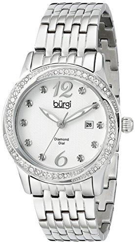 Burgi Women's BUR102SS Silver Quartz Watch with White Dial and Silver Bracelet