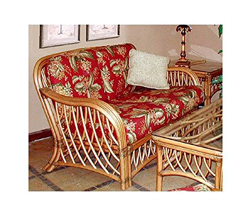 Wicker Frame Loveseat with Cushions (Solar Kiwi (All Weather)) by Spice Island Wicker
