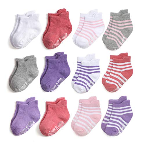 Epeius Unisex-Baby Non-Skid Socks Toddlers Boys Girls Grip Solid Color/Striped Ankle Socks Non Slip/Anti Skid Tab Socks 12 Pair Value Pack,White/Gray/Navy/Blue/Pink/Purple,2-3 Years