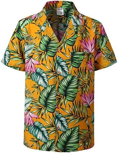 LFNANYI Mens Hipster Floral Algodón Camisa Hawaiana Fiesta Vacaciones Playa Camisas Hombres Regular Fit Camisa de Bolsillo de Manga Corta: Amazon.es: Deportes y aire libre