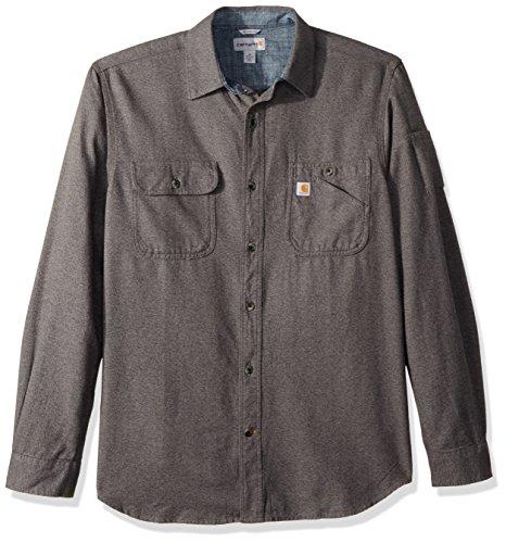 Carhartt Men's Beartooth Solid Long Sleeve Shirt, Granite Heather, Large