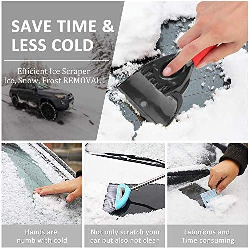 frost and ice from windscreens rear windows and side windows. durable and stable snow shovel for cars windscreen YIKEF ice scraper car