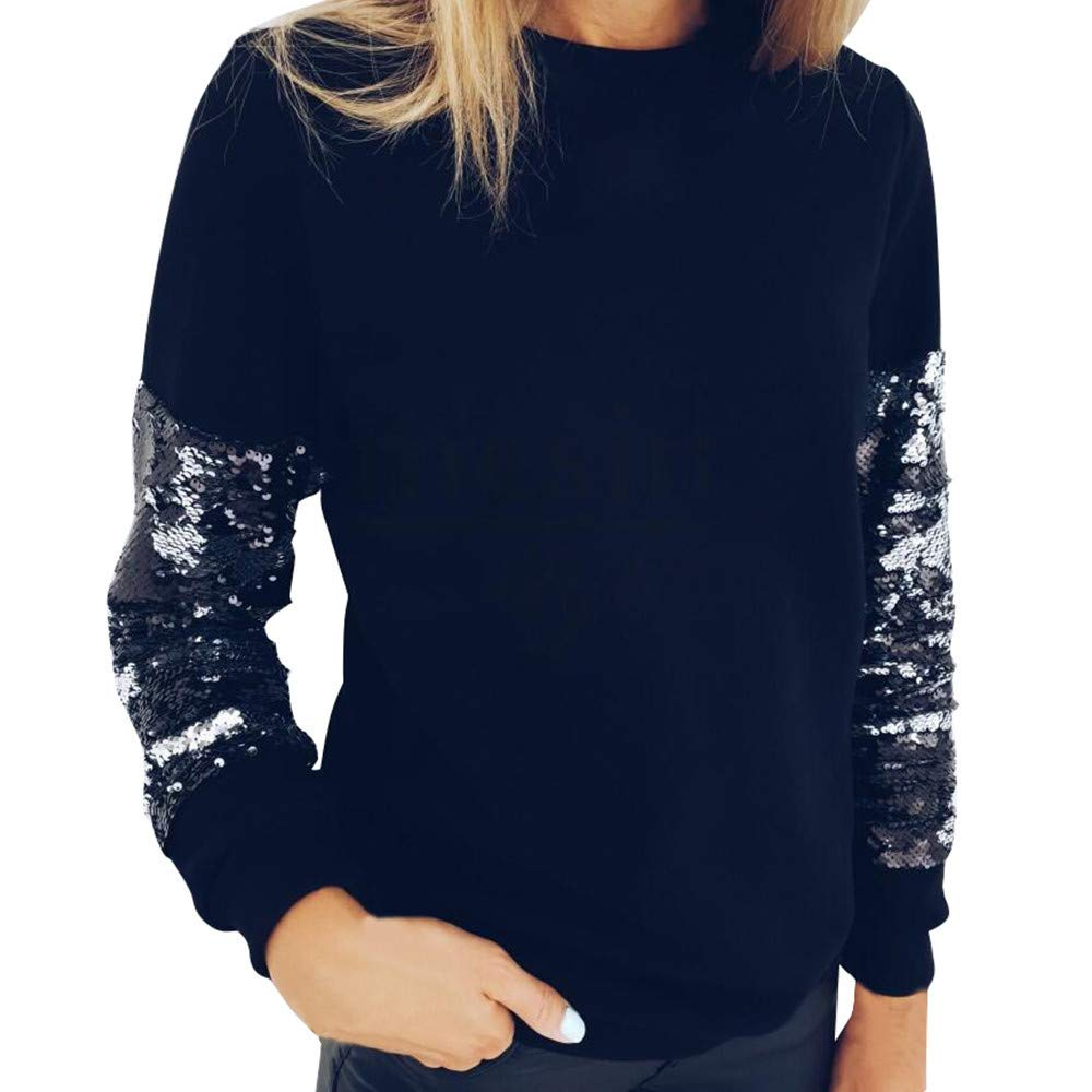 Fashion Womens Sequin O-Neck Knitting Sweater Long Sleeve Loose Blouse Tops (XL, Black) by DRAGONHOO