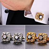 1 Pair 2 Pcs Mens Gold Plated Cubic Zirconia Cufflinks