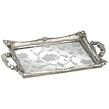 "Floral Pattern 13"" Wide Silver Mirrored Tray"