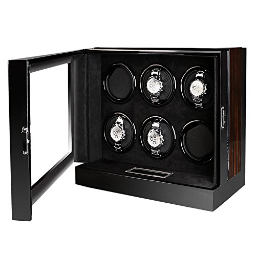 OLYMBROS Wooden Automatic Watch Winder Storage Box with LCD Touch Screen for 6 Watches