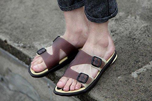 GLTER Hombres Sandalias Abiertas Dedo Pie Zapatillas Transpirables Zapatos Ocasionales De La Playa ResbalóN En Flips-Flopes light brown