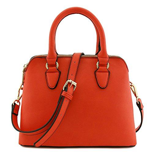 Classic Double Zip Top Handle Satchel Bag Tomato Red (Handbag Red Satchel)