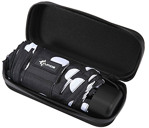Travel Umbrella with Case - Compact and Light Small Mini Umbrella is perfect for Kids Backpack, Purse, School, Car or Office - Black and White Polka Dot Spots