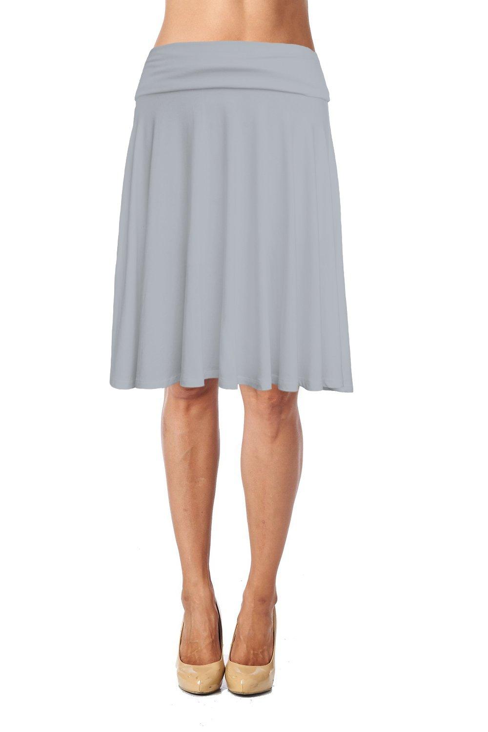 Womens Basic Soft Stretch Mid Midi Knee Length Flare Flowy Skirt Made in USA