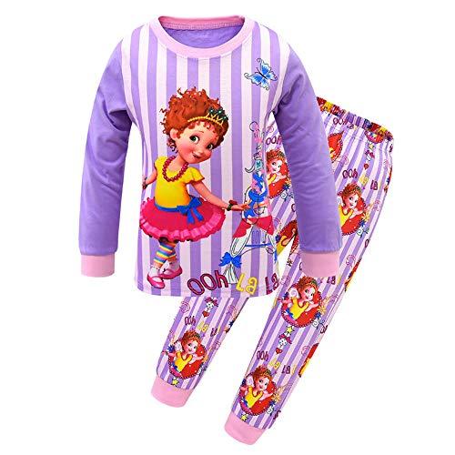 Mukola Girls Fancy Nancy Pajama Set Tee and Pant PJ Set Long Sleeve Sleepwear Purple]()
