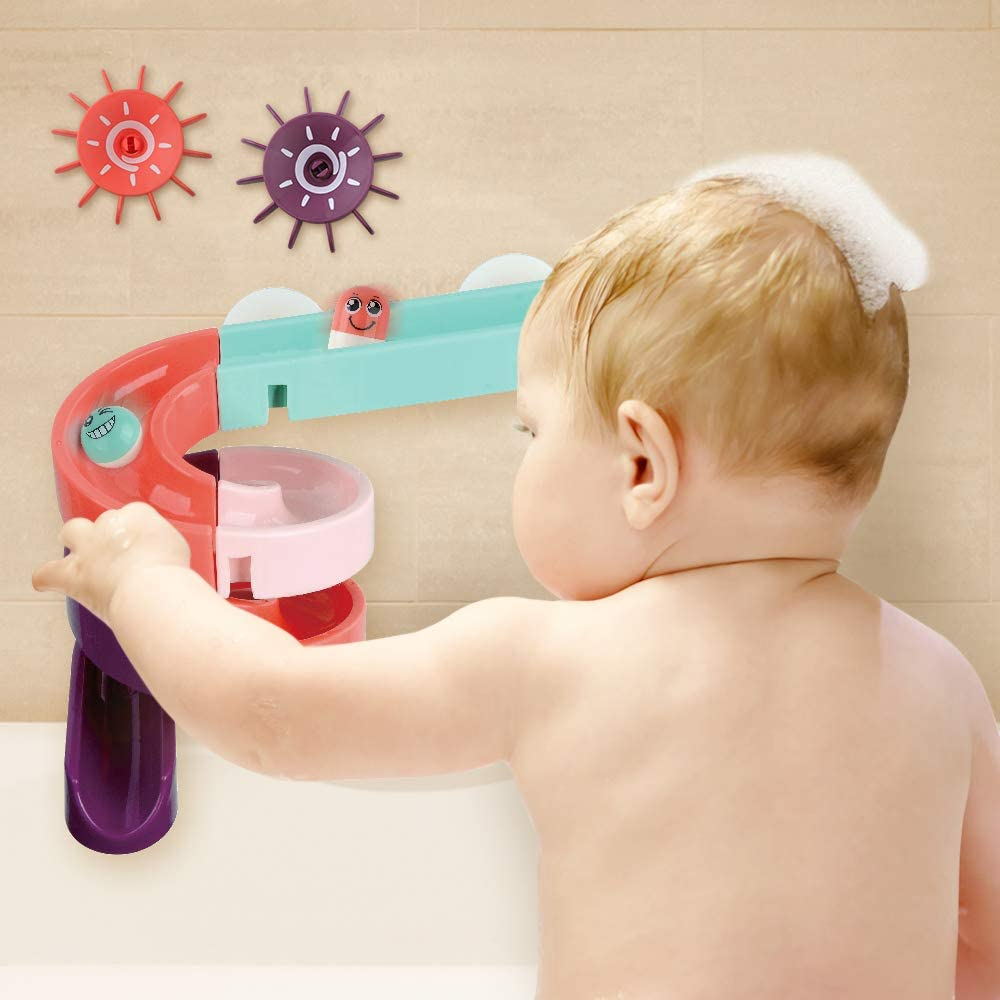 Mango Town Bath Toy Kids Bath Toys DIY Set Wall Suction Water Slide Tracks Bathtub Toys Floating Assemble Set 24PCS Birthday Gift for Children Toddlers Boys Girls 3 4 5 6 Years Old