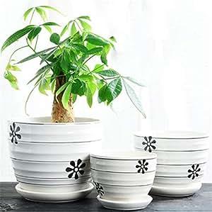 Amazon Com 3 Piece Set Black White Striped Ceramic