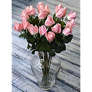 FiveSeasonStuff 10 Stems of Real Touch Silk Roses 'Petals Feel and Look like Fresh Roses' Artificial Flower Bouquet for Wedding Bridal Office Party Home Decor (Dark Pink) 2