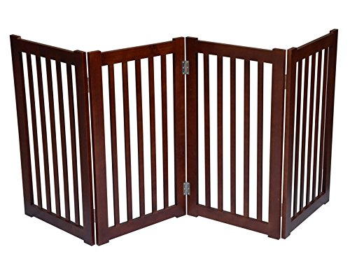 4-Panel Free Standing Pet Gate 72''W x 32''H - Dark Walnut