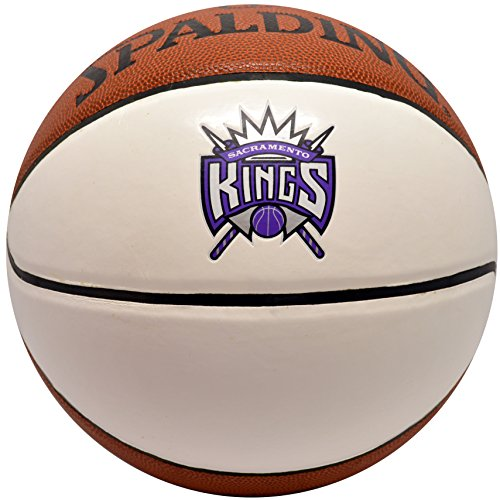 Spalding NBA Autograph Basketball Sacramento Kings White Panel Leather Ball (Sacramento Leather Nba Kings)