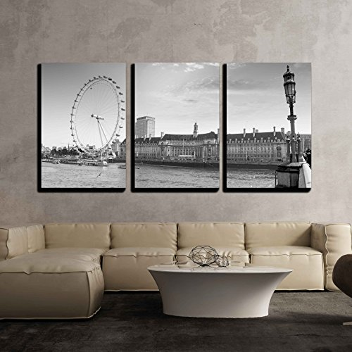 "wall26-3 Piece Canvas Wall Art - View the London Aquarium and the London Eye from Westminster Bridge. - Modern Home Decor Stretched and Framed Ready to Hang - 24""x36""x3 Panels"