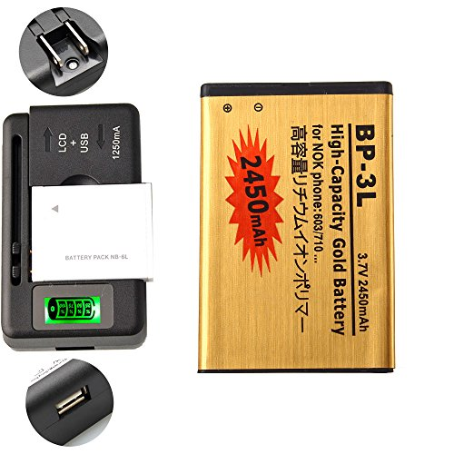 Gold Extended Nokia Lumia 710 High Capacity Battery BP-3L + Universal Battery Charger With LED Indicator For Nokia Lumia 710 / Nokia ASHA 603 605 303 2450 mAh (3l Nokia Bp)