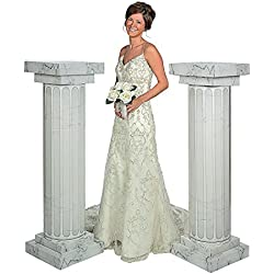 Fun Express FX IN-3/2360 2 Piece Marble Look Fluted Columns Pillars for Wedding Ceremony, 4-1/2'