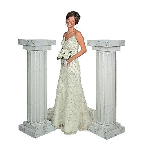 Fun Express FX IN-3/2360 2 Piece Marble Look Fluted Columns Pillars for Wedding Ceremony, (Wedding Columns)