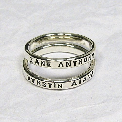 Personalized Sterling Silver Stacking Rings, Custom Names, Dates, Message Stackable Rings, Set of 2 – 2.4 mm wide each.