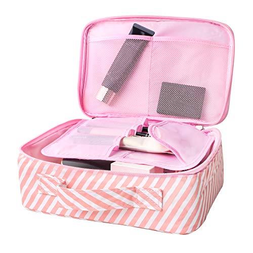 Fashion Cosmetic Bag Cute Makeup Toiletry Bag Multifunction Storage Portable Waterproof Travel Makeup Organizer Bag for Women (Pink stripe)