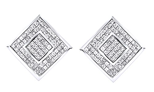 14K White Gold Over Sterling Silver Cubic Zirconia Hip Hop Cluster Stud Earrings by wishrocks