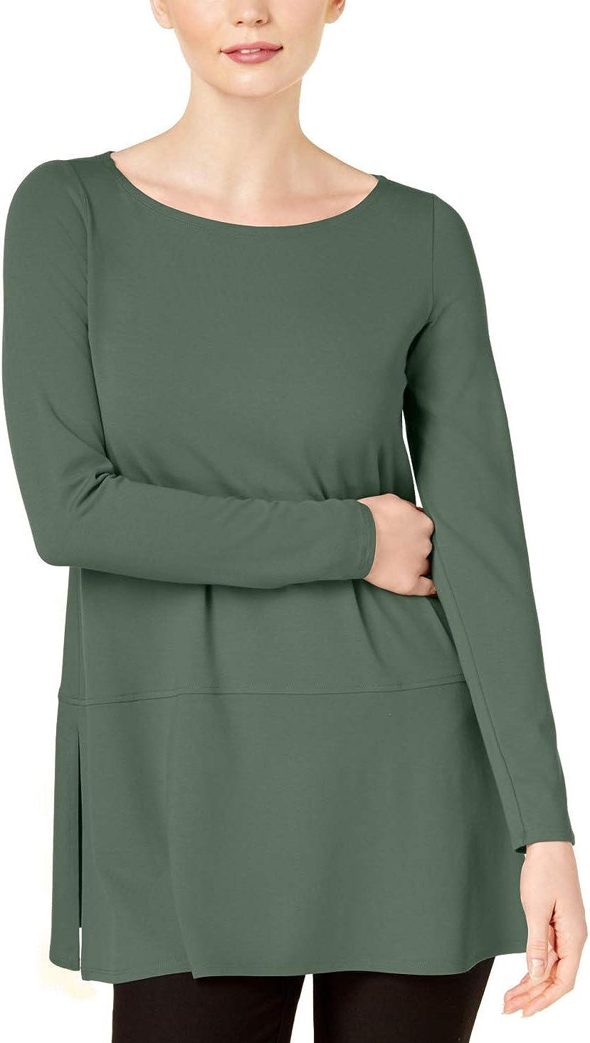 Eileen Fisher Side-Slit Tunic Eucaliptus XL