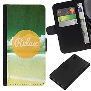 All Phone Most Case / Oferta Especial Cáscara Funda de cuero Monedero Cubierta de proteccion Caso / Wallet Case for Sony Xperia Z1 L39 // Relax Beach